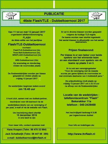 Publicatie FlashTLE 2017